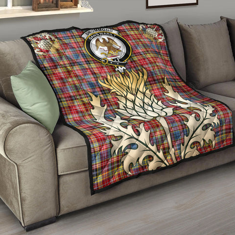 Drummond of Strathallan Clan Crest Tartan Scotland Thistle Gold Royal Premium Quilt K9