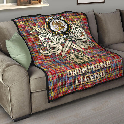 Drummond of Strathallan Clan Crest Tartan Scotland Clan Legend Gold Royal Premium Quilt K9