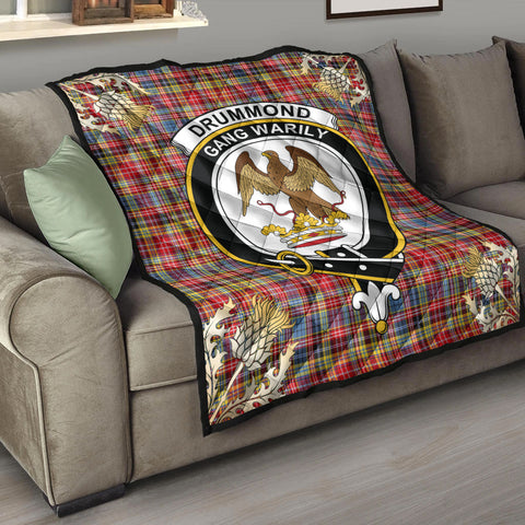 Image of Drummond of Strathallan Clan Crest Tartan Scotland Thistle Gold Pattern Premium Quilt K9