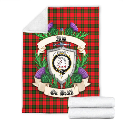Dunbar Modern Crest Tartan Blanket Thistle  | Tartan Home Decor | Scottish Clan