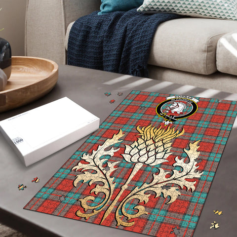 Image of Dunbar Ancient Clan Crest Tartan Thistle Gold Jigsaw Puzzle