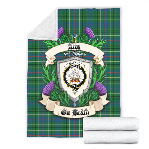 Duncan Ancient Crest Tartan Blanket Thistle  | Tartan Home Decor | Scottish Clan