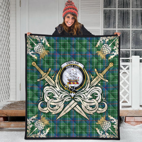 Image of Duncan Ancient Clan Crest Tartan Scotland Thistle Symbol Gold Royal Premium Quilt