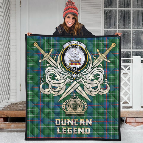 Duncan Ancient Clan Crest Tartan Scotland Clan Legend Gold Royal Premium Quilt