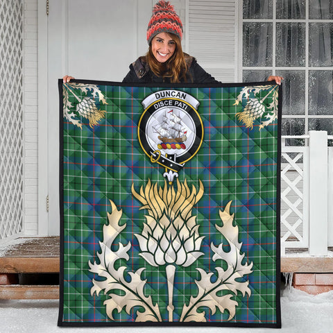 Duncan Ancient Clan Crest Tartan Scotland Thistle Gold Royal Premium Quilt