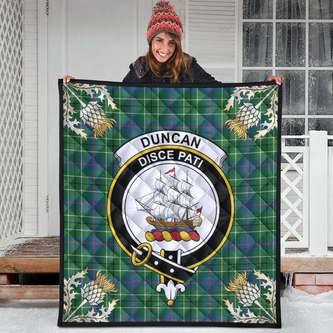 Image of Duncan Ancient Clan Crest Tartan Scotland Thistle Gold Pattern Premium Quilt