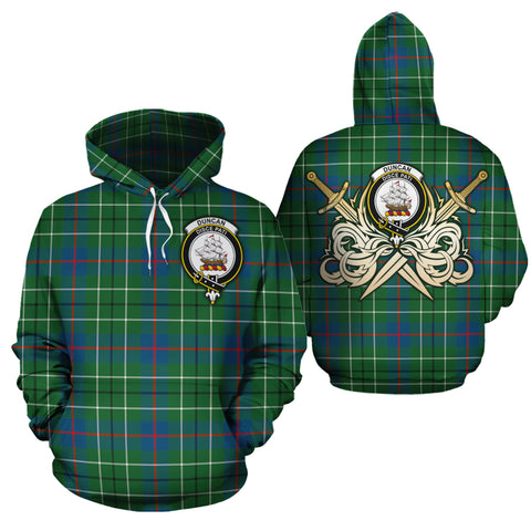 Duncan Ancient Clan Crest Tartan Scottish Gold Thistle Hoodie