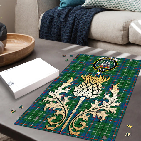 Duncan Ancient Clan Crest Tartan Thistle Gold Jigsaw Puzzle
