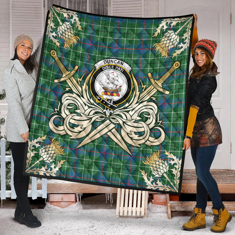 Image of Duncan Ancient Clan Crest Tartan Scotland Thistle Symbol Gold Royal Premium Quilt K9