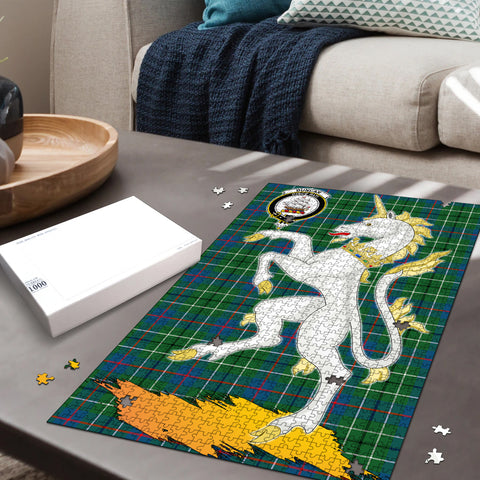 Image of Duncan Ancient Clan Crest Tartan Unicorn Scotland Jigsaw Puzzle
