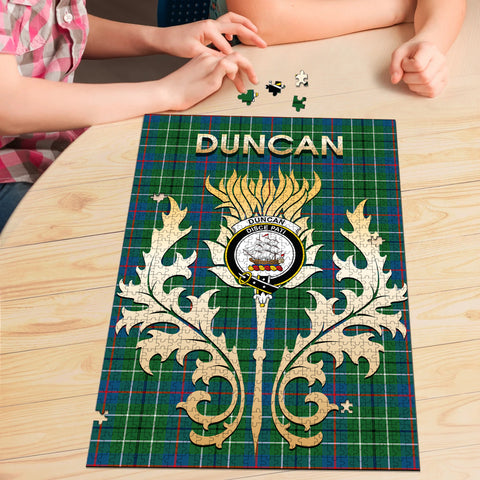 Image of Duncan Ancient Clan Name Crest Tartan Thistle Scotland Jigsaw Puzzle