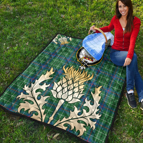 Duncan Ancient Clan Crest Tartan Scotland Thistle Gold Royal Premium Quilt K9