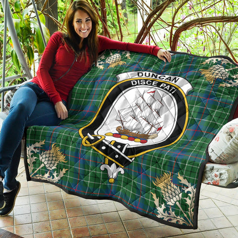 Image of Duncan Ancient Clan Crest Tartan Scotland Thistle Gold Pattern Premium Quilt K9