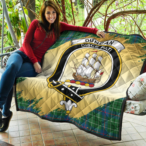Image of Duncan Ancient Clan Crest Tartan Scotland Gold Royal Premium Quilt K9