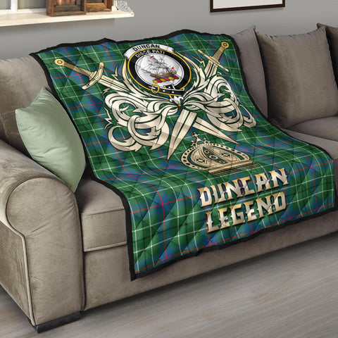 Image of Duncan Ancient Clan Crest Tartan Scotland Clan Legend Gold Royal Premium Quilt K9