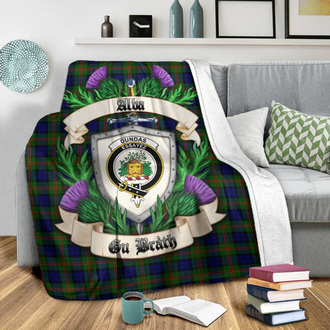 Dundas Modern Crest Tartan Blanket Thistle  | Tartan Home Decor | Scottish Clan