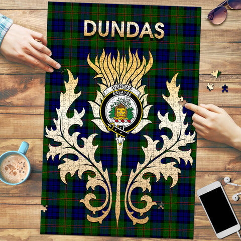 Image of Dundas Modern Clan Name Crest Tartan Thistle Scotland Jigsaw Puzzle