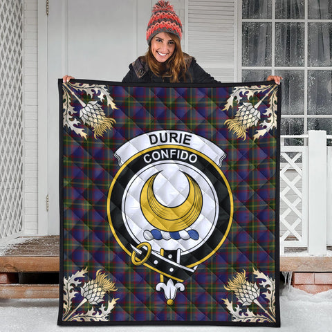 Durie Clan Crest Tartan Scotland Thistle Gold Pattern Premium Quilt