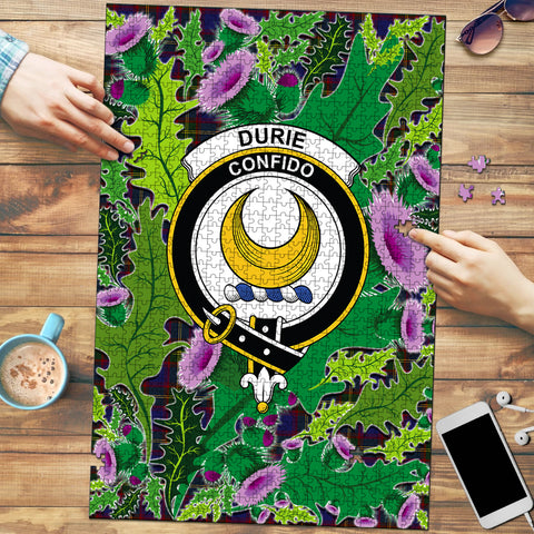 Image of Durie Clan Crest Tartan Thistle Pattern Scotland Jigsaw Puzzle