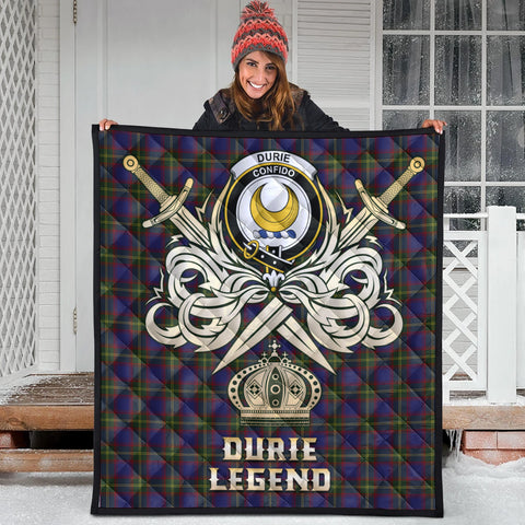 Durie Clan Crest Tartan Scotland Clan Legend Gold Royal Premium Quilt