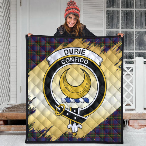 Durie Clan Crest Tartan Scotland Gold Royal Premium Quilt