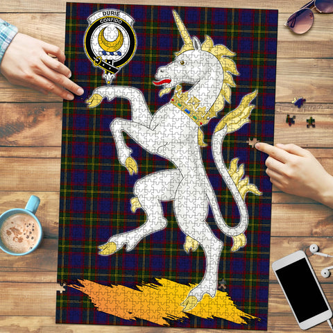 Image of Durie Clan Crest Tartan Unicorn Scotland Jigsaw Puzzle