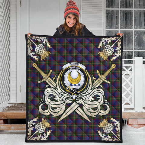 Durie Clan Crest Tartan Scotland Thistle Symbol Gold Royal Premium Quilt