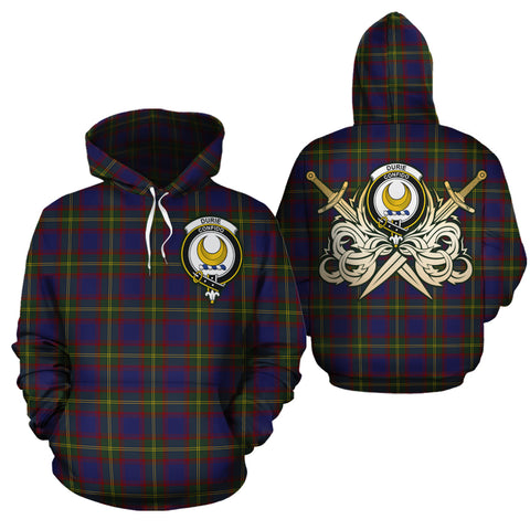 Durie Clan Crest Tartan Scottish Gold Thistle Hoodie