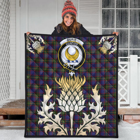 Durie Clan Crest Tartan Scotland Thistle Gold Royal Premium Quilt