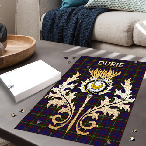 Image of Durie Clan Name Crest Tartan Thistle Scotland Jigsaw Puzzle