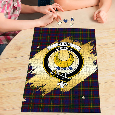 Image of Durie Clan Crest Tartan Jigsaw Puzzle Gold