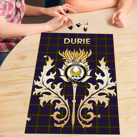 Durie Clan Name Crest Tartan Thistle Scotland Jigsaw Puzzle