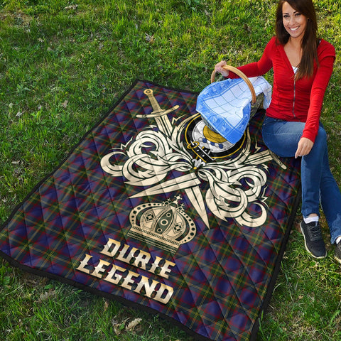 Durie Clan Crest Tartan Scotland Clan Legend Gold Royal Premium Quilt K9