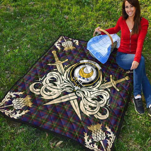 Durie Clan Crest Tartan Scotland Thistle Symbol Gold Royal Premium Quilt K9