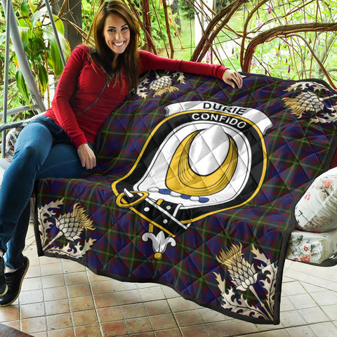 Image of Durie Clan Crest Tartan Scotland Thistle Gold Pattern Premium Quilt K9