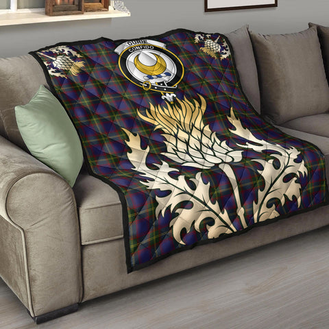 Durie Clan Crest Tartan Scotland Thistle Gold Royal Premium Quilt K9