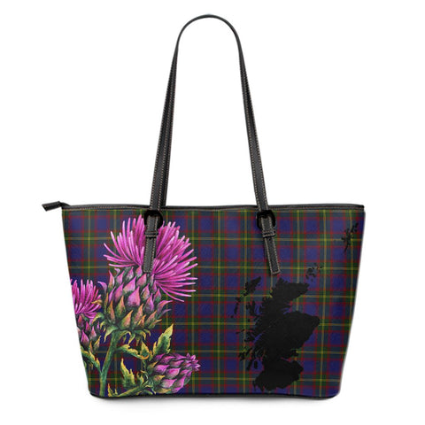 Durie Tartan Leather Tote Bag Thistle Scotland Maps A91