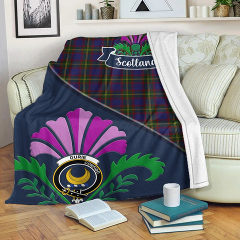 Image of Durie Crest Tartan Blanket Scotland Thistle | Tartan Home Decor | Scottish Clan