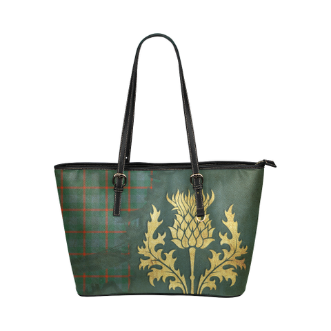 Agnew Ancient Tartan - Thistle Royal Leather Tote Bag