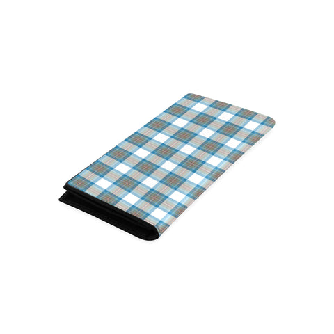 Image of Stewart Muted Blue Tartan Wallet Women's Leather Thistle A91