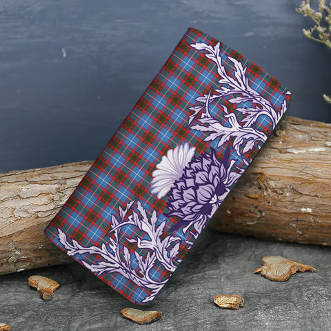 Image of Edinburgh District Tartan Wallet Women's Leather Thistle A91