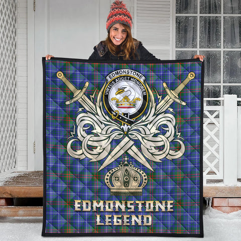 Edmonstone Clan Crest Tartan Scotland Clan Legend Gold Royal Premium Quilt