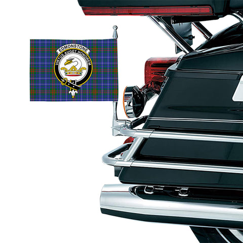 Image of Edmonstone Clan Crest Tartan Motorcycle Flag