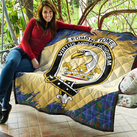 Image of Edmonstone Clan Crest Tartan Scotland Gold Royal Premium Quilt K9