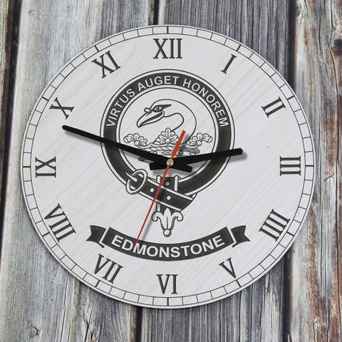 Edmonstone  Tartan Clan Badge Wooden Wall Clock
