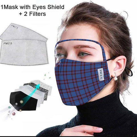 Elliot Modern Tartan Face Mask With Eyes Shield - Blue  Plaid Mask TH8