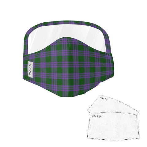Elphinstone Tartan Face Mask With Eyes Shield - Green & Violet  Plaid Mask TH8