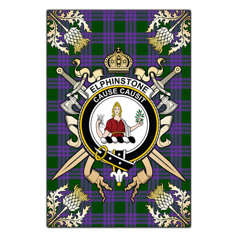 Garden Flag Elphinstone Clan Crest Sword Gold Thistle