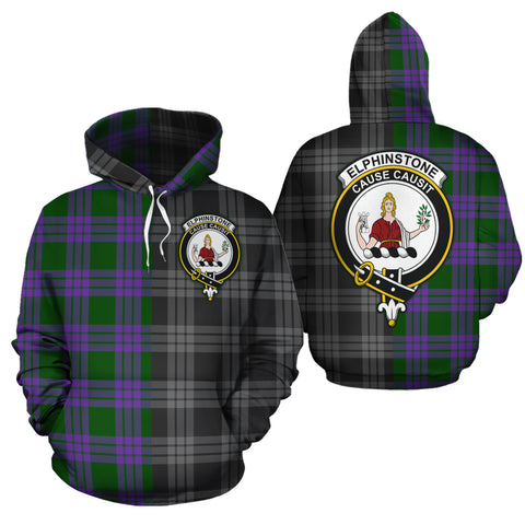 Elphinstone Clan Half Of Me New Version Crest Tartan Hoodie