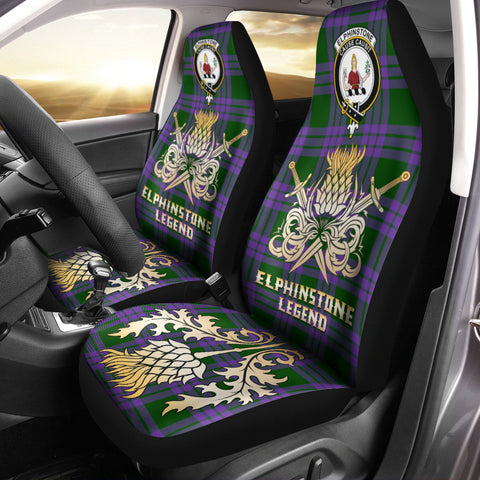 Car Seat Cover Elphinstone Clan Crest Gold Thistle Courage Symbol